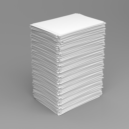 white paper: Pile of white paper sheets on grey background