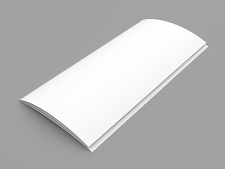 mockup: Closed leaflet blank tri-fold white paper brochure mockup on grey background