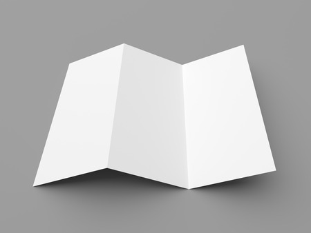 Leaflet blank z-fold white paper brochure mockup on grey background