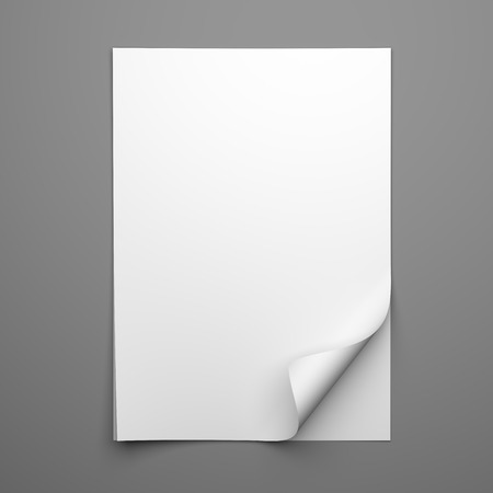 note: Blank empty sheet of white paper with curled corner on grey background