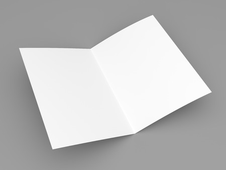 mockup: Blank folded flyer, booklet, postcard, business card or brochure mockup template on grey background Stock Photo