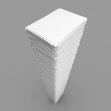 printout: Top view of pile white paper sheets on grey background