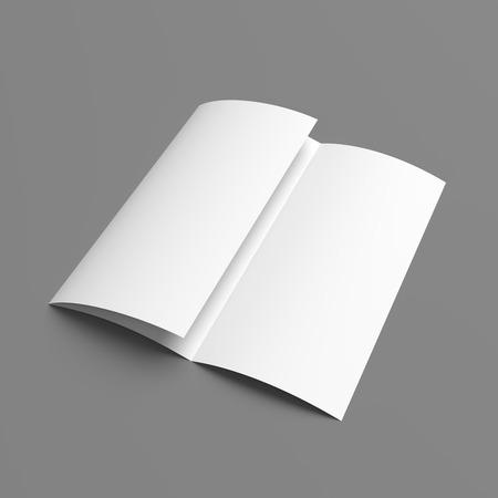 hoja en blanco: Folleto en blanco maqueta folleto libro blanco de tres veces en el fondo gris