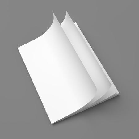 灰色背景: 灰色の背景の空白の白いカバー空の雑誌