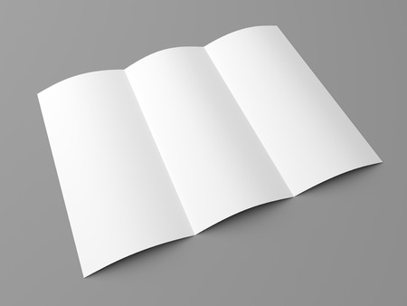 Leaflet blank tri fold white paper brochure mockup on grey background