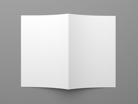 blank brochure: Top view of blank folded flyer, booklet, business card or brochure mockup template on grey background