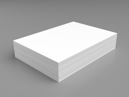 grey background: Stack of white paper on grey background