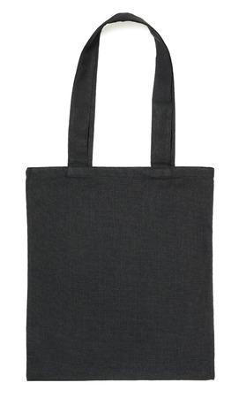 白い背景の分離された黒い布エコバッグ