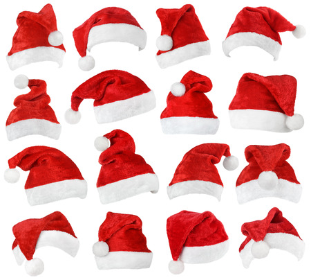 xmas: Set of red Santa Claus hats isolated on white background Stock Photo