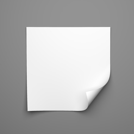curled corner: Blank empty square sheet of white paper with curled corner on grey background