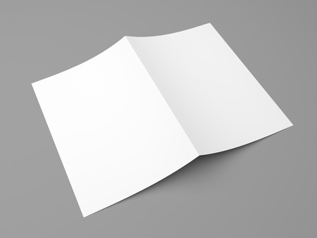 blank template: Blank folded flyer, booklet, postcard, business card or brochure mockup template on grey background Stock Photo
