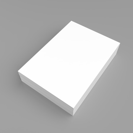 stack of paper: Stack of white paper on gray background