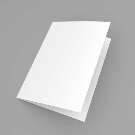 空白 2 つ折りチラシ、小冊子、灰色の背景にはがき、名刺やパンフレットのモックアップ テンプレート