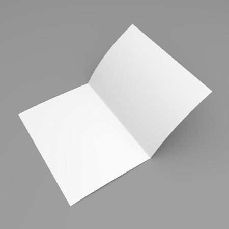 papel de notas: Folleto, folleto, postal, tarjeta de visita o un folleto maqueta plantilla de plegado en blanco sobre fondo gris