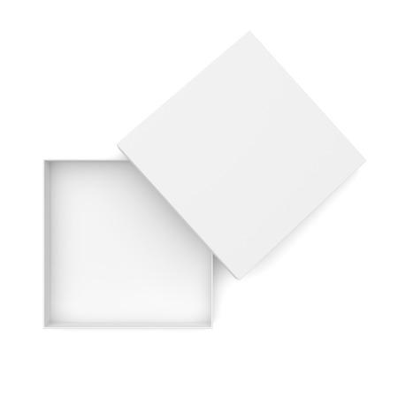 objetos cuadrados: Vista superior de la caja plana abierto aislado en el fondo blanco Foto de archivo