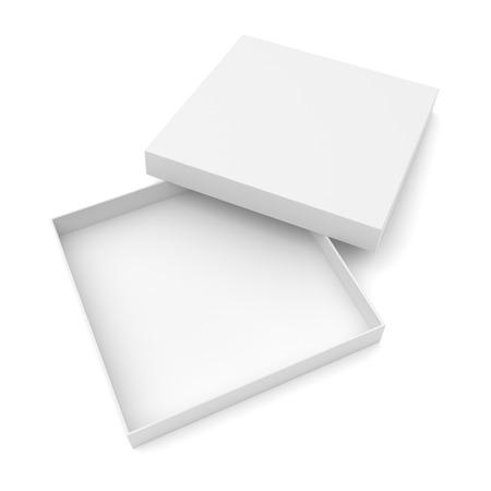 box open: Opened flat box isolated on white background Stock Photo