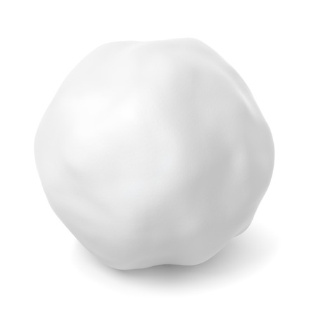 february 1: Snowball or hailstone with shadow isolated on white background