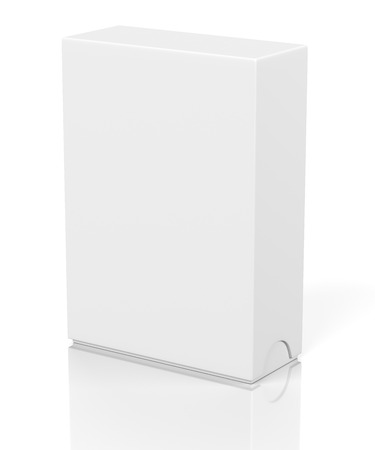 white blank: Blank closed box with slide cover isolated on white background