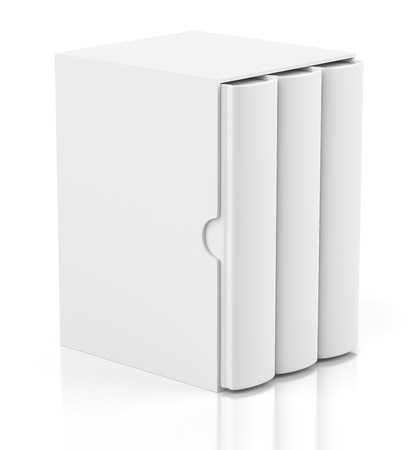 books isolated: Group of blank books in cardboard box cover isolated on white background