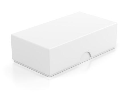 isolado no branco: Blank closed box package for mobile phone isolated on white background