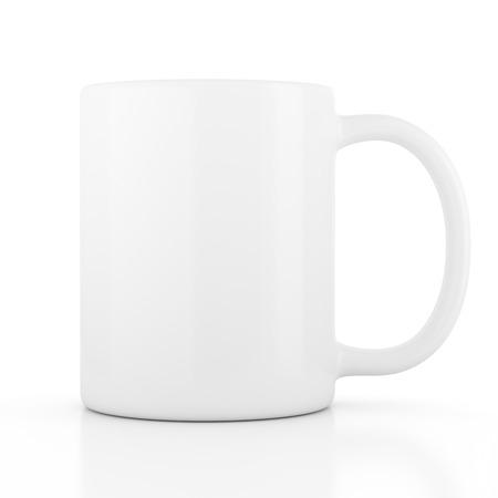 コーヒーや紅茶は、白い背景で隔離のため空白を空に陶器のマグカップ