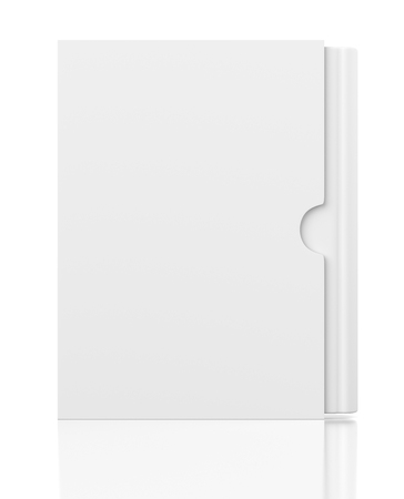 packaging box: Front view of single blank book in cardboard box cover isolated on white background Stock Photo