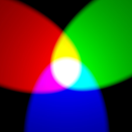light color: Additive color model RGB - primary red, green, and blue colors with yellow, purple, cyan and white on black wall Stock Photo
