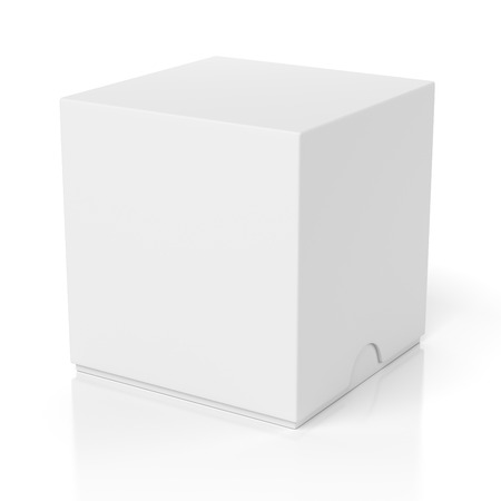 front view: Blank closed box with slide cover isolated on white background