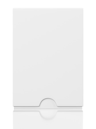 front view: Front view of blank closed box with slide cover isolated on white background Stock Photo