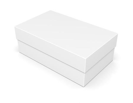 closed box: Blank of closed paper shoe box isolated on white background Stock Photo