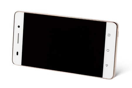 horizontal: Modern white touch screen smartphones in horizontal isolated on white with clipping path