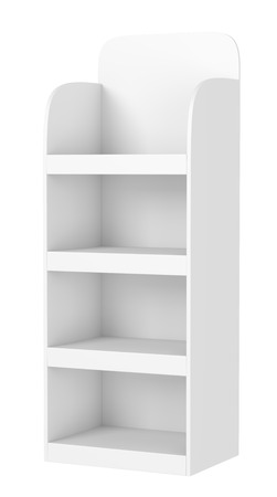 product display: Display stand with shelves isolated on white background