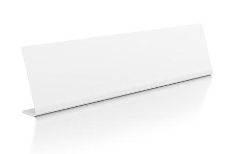 nameplate: Desktop identification plate nameplate isolated on white background.