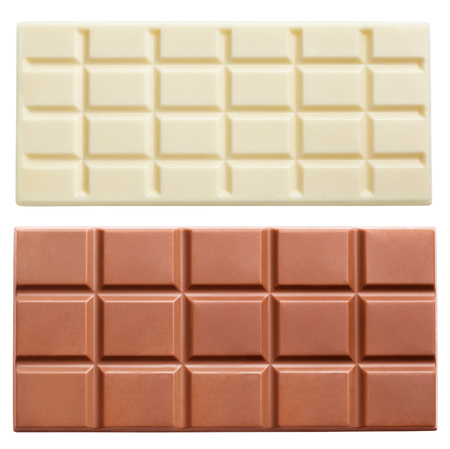 white bars: Dark and light milk chocolate bars isolated on white background with clipping path