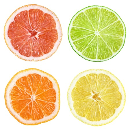 lemon slice: Slices of grapefruit, lime, lemon, orange isolated on white with clipping path Stock Photo