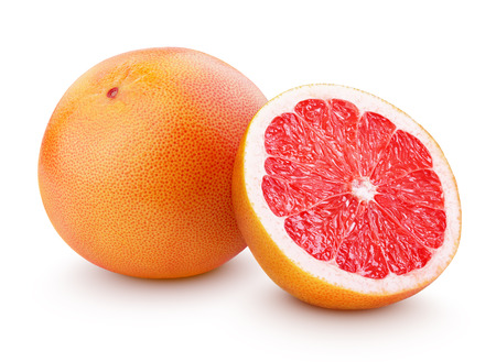two objects: Grapefruit citrus fruit with half isolated on white with clipping path Stock Photo
