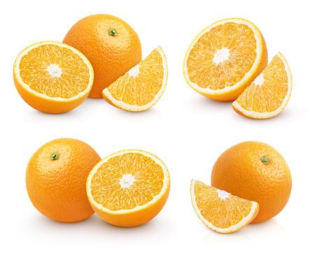 orange fruit: Set of group orange citrus fruit isolated on white Stock Photo