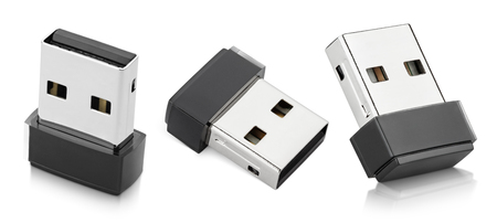 adapters: Set of Wi-Fi wireless USB adapters isolated on white with clipping path