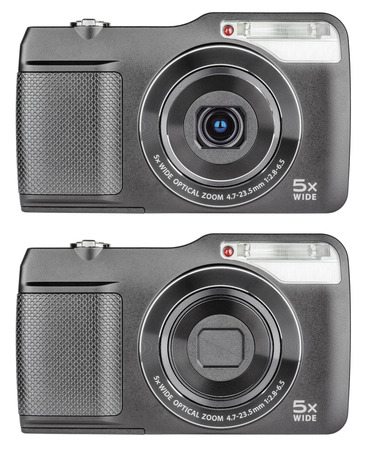 megapixel: Digital compact cameras with open and closed lens isolated on white with clipping path Stock Photo