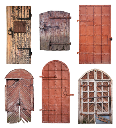 old doors: Set of closed old doors with rusty key isolated on white background with clipping path