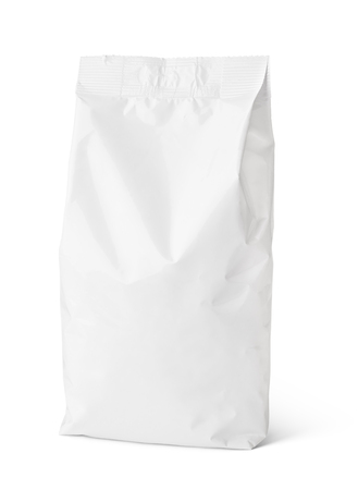 Blank snack paper bag package isolated on white