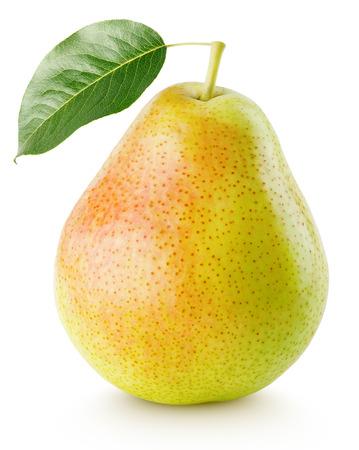 Rouge, jaune, poire, fruit, feuille, isolé, blanc, coupure Banque d'images - 64800162