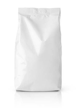 Front view of blank snack paper bag package isolated on white