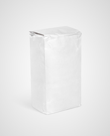 Blank white paper bag package of flour on gray backround Stock Photo - 64879526