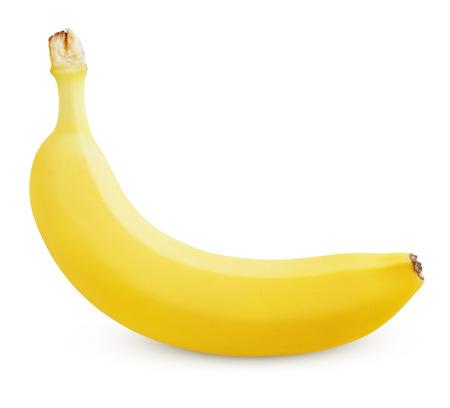 Single rijpe gele banaan geïsoleerd op een witte achtergrond Stockfoto