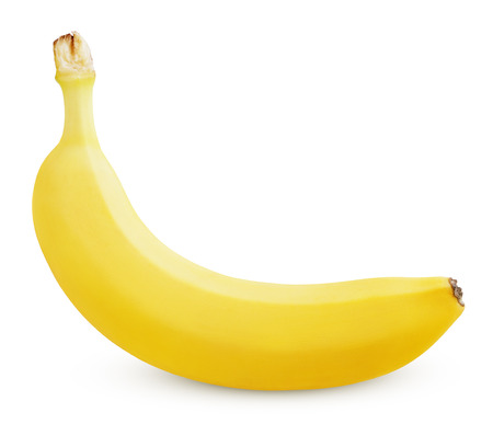 Single ripe yellow banana isolated on white background