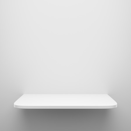 expansive: Empty white shelf hanging on wall with light from the top