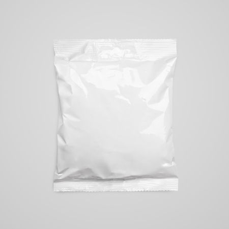 paperbag: Top view of blank plastic pouch food packaging on gray with clipping path Stock Photo