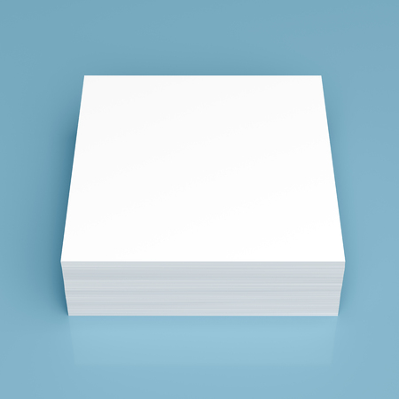 note paper background: Stack of stick note (white paper) on blue background Stock Photo