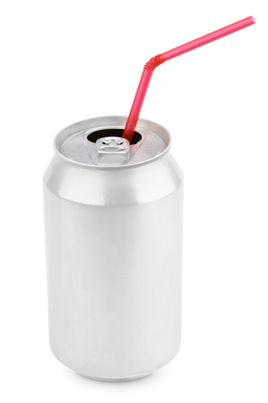 a straw: Opened 330 ml aluminum soda can with red straw isolated on white background Stock Photo